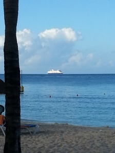 One of the many cruise ships that visits the island.