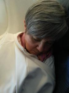 asleep on the plane to Calgary