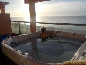 hot tub at sunset