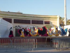 Folk dancers rehearsing