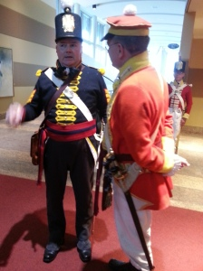Royal Canadian Artillery (in blue) and Infantry (in red) - re-enactors in period uniforms