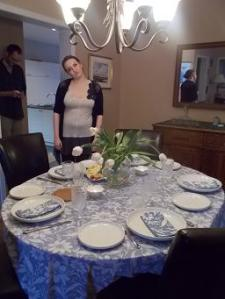 Ariane being dramatic over the table setting. Nick in the background.  It was like old times in Australia, dinner for the 5 of us.
