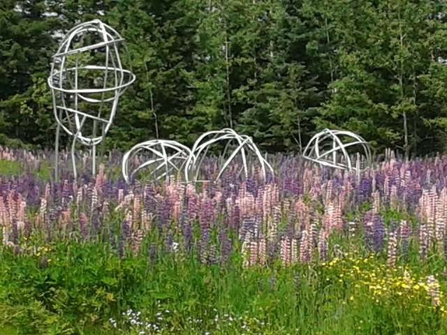 scuptures in the lupin meadow