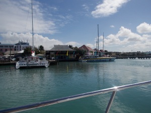 Leaving the harbour with our diving boat.