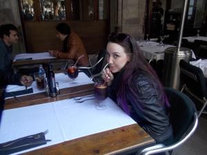 Ariane tasting her first sangria in Plaça Rieal