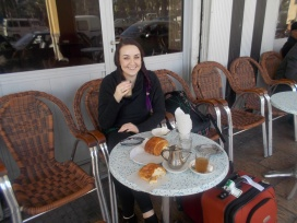 Breakfast at café outside train station at Casablanca.