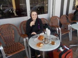 Breakfast at café outside train station at Casablanca.