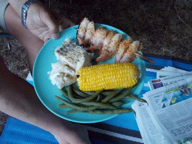 Steamed pacific cod with grilled shrimp