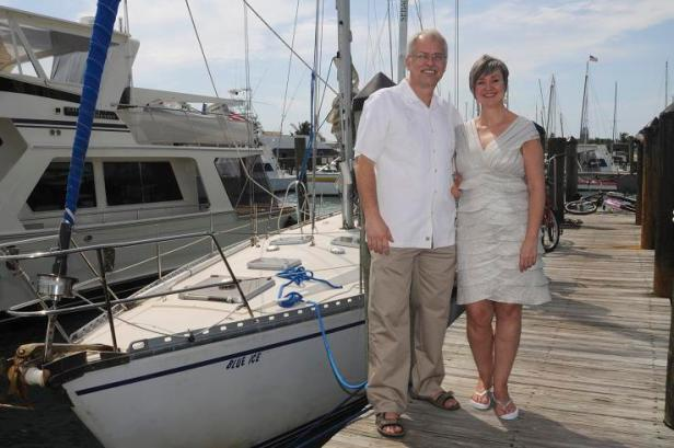 Our wedding day, just before we boarded the sailboat to get married, Feb 12, 2010.