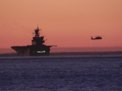 airplane carrier at sunset