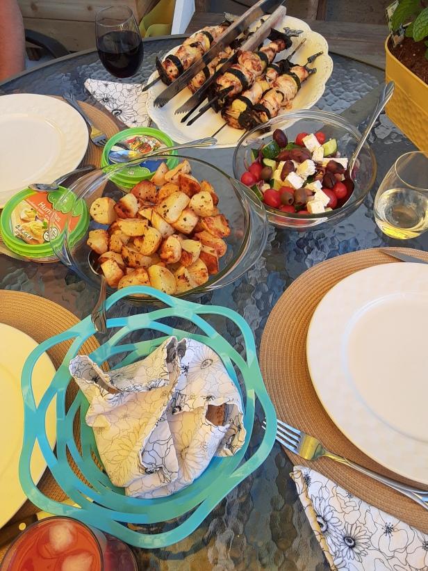 Greek inspired dinner, kebabs, lemon potatoes