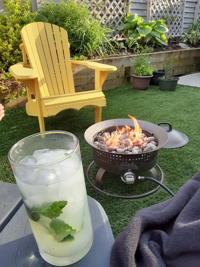 firepit, muskoka chair, cold drink, warm blanket, green backyard